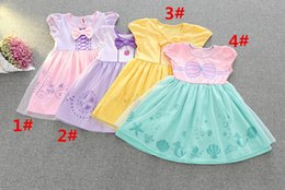 Wholesale Trumpet Bowknot - Girl mermaid Dress 4 Style Children Summer Cartoon fish scale bowknot princess dresses A 080