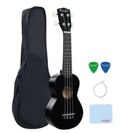 Wholesale Strong Strings - Wholesale-Strong Wind 21 Inch Basswood Soprano Ukulele for Kids black Bundle with Gig Bag, Ukulele Strings and Polishing Cloth