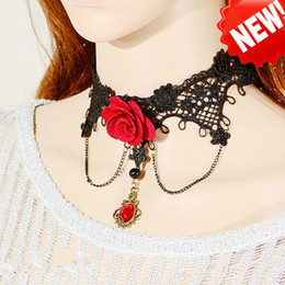 Wholesale Manufacturer Lingerie - Hot red, red roses, Lace Necklace, red collar, gemstone pendant, hanging neck, clavicle, sexy lingerie accessories manufacturers wholesale