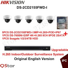 Wholesale Ip Dome Camera System - Hikvision Original English H.265 CCTV Security System 5pcs DS-2CD2155FWD-I 5MP H.265 IP Camera POE+4K NVR DS-7608NI-I2 8P H.265