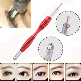 Wholesale Tattoo Pen Holder - New Arrival Microblading Eyebrow Line Manual Pen For Permanent Makeup Eyebrow Tattoo Manual Blade Holder 10pcs
