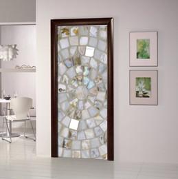 Wholesale Glass Mosaic Wall Design - DIY 3D Wall Sticker Mural Bedroom Home Decor Poster PVC Shell Mosaic Waterproof Door Sticker Decal 77*200cm