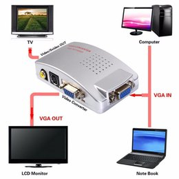 2019 moniteurs vidéo composites Adaptateur PC vers TV VGA vers AV RCA Moniteur Convertisseur de signaux S-Vidéo Adaptateur Switch Box PC Laptop moniteurs vidéo composites pas cher
