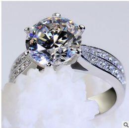 Wholesale Platinum Clusters - Fashion platinum plating ms roundness love diamond ring micro diamond ring with high carbon diamond ring