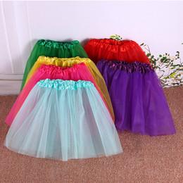 Wholesale Baby Dance Clothes - 17 color Children's clothing girls dance skirt Baby tutu skirt three layers of gauze skirt
