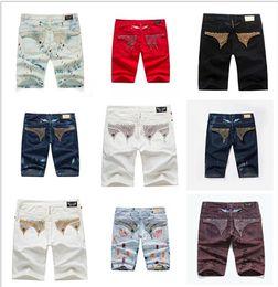 Wholesale Mens Short Jeans Trousers - 2017 Men Jeans Robin Short Jeans Gold Metal Wing Pants Classic Brand Robins Diamond Jeans For Man Designer Mens Trouser