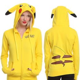 Wholesale Super Cute Coats - 2017 Spring New Women 's Coat Cartoon Pikachu Loose Cardigan Hooded Long Sleeve Sweatshirts Fashion Super Cute Hoodies Outerwear WD008