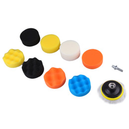 """Wholesale Paper Drill - Wholesale- 10 Pieces Gross Polishing Buffer Pad Set 4"""" Buffing Pad Kit with 3 Pads 1 Backing Plate 5 Sanding Paper and 1 4"""" Drill Adaptor"""