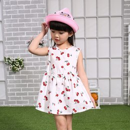 Wholesale Dresses Pleated Patterned - Girls Dress with Cherry pattern