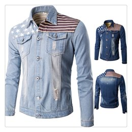 Wholesale Flag Denim Jacket - Mens Denim Jackets Spring&autumn High Quality Fashion USA Flag Printing Washed Frayed Men's Casual Short Denim Jackets US Size:XS-L