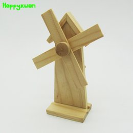 Wholesale Toy Windmill Kit - Happyxuan Handmade Wooden Windmill Diy Material Package Assembly Kit Puzzle Model Toys