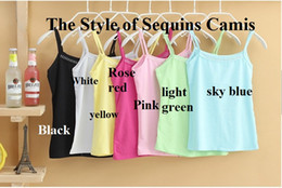 Wholesale Wholesale Price Sequin Dress - FashionSexy Women's Girls' Yellow Tanks Casual Yoga Camis PinkSequin Lace Summer Camis Bodycon Scoop Neck Dresses Cheap Price Freeshipping