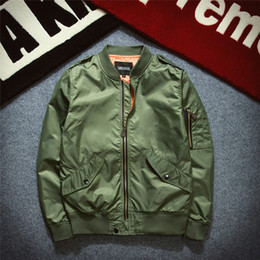Wholesale long puffer - Men Thin Jacket Puffer Style Thick Army Green Military Flying Ma-1 Flight Motorcycle Jacket Pilot Air Force Men Bomber Coat Baseball Costume