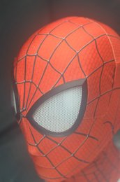Wholesale New Spiderman Mask - 2017 New Cos Amazing SpiderMan Fabric Adult Costume Mask cosplay halloween lenses lens one size adjust