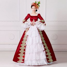 Wholesale Century Length - Real Photo Luxury 2017 Square Collar Long Flare Sleeve Red Embroidery 18th Century Stage Show Marie Antoinette Princess Dresses Ball Gowns
