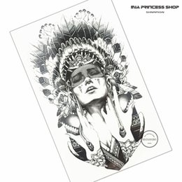 Wholesale Indian Style Decor - Wholesale- Indian Warrior Temporary Tattoo Body Art Flash Tattoo Stickers 12*20cm Waterproof Fake Tatoo Car Styling Home Decor Wall Sticker