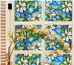 Wholesale Window Frosting Film - Premium lilyflower Decor Window Static Stained Glass Frosted Vinyl Privacy Film