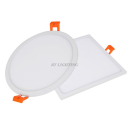 Wholesale Downlight 22w - Wholesale- Ultra Thin LED Panel Downlight 5w 8w 16w 22w 30w Round Square LED Ceiling Recessed Lights Power Supply Build-in SMD4014
