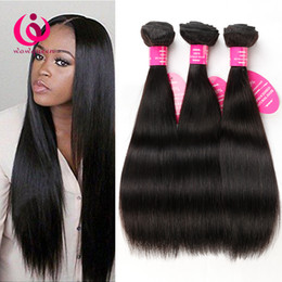 Wholesale Cheap Real Hair Extensions - 8A Brazilian Virgin Human Hair Straight 4pcs lot Queen Products Cheap Real Malaysian Peruvian Indian Weave Hair Extension Free shinping