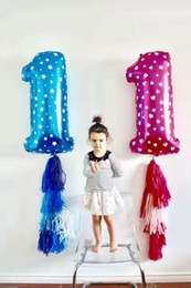 Wholesale Large Wedding Balloons - 40 Inch Number Foil Balloons Large Pink Blue Air Digit Printed Heart Balloon Birthday Wedding Decoration Ballon Party Supplies
