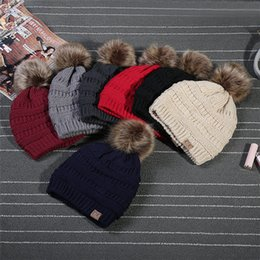 Wholesale Garden Labels - Unisex CC Trendy Hat Winter Warm Knitted Beanie With Fur Poms Label Fedora Elegant Cable Slouchy Skull Cap Fashion Leisure Outdoor Hats A114