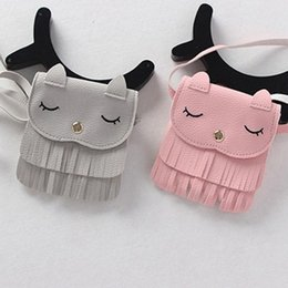 Wholesale Wholesale Cute Coin Purses - Cute Children Girls Tassel Small Cat Shoulder Messenger Bag Mini Coin Purses PU Leather Handbags Wallet