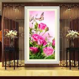 mosaicos de rosas Rebajas Diy 5d Diamante Bordado Diamante Redondo Pintura Rosas Flores Mariposa Diamante Mosaico Kits de Costura Sala de estar Decoración 32 * 57 cm