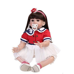 Wholesale 24 inch figure - Silicone Vinyl Lifelike Girl Doll Reborn Baby Toddler with Clothes for Kids Toy Fake Playmate,24-Inch