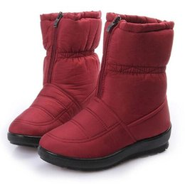 Wholesale Girls Red Waterproof Snow Boot - Women winter thick snow boots girls waterproof cotton shoes zipper warm ankle shoes classic outdoor work shoes size 35-42
