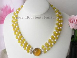 Wholesale Yellow Jade 8mm - Vogue 3strands 8mm Yellow jade white Pearl Necklace