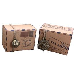 Recuerdos de avión online-100 unids Vintage Favors Kraft Paper Candy Box Travel Theme Airplane Air Mail Cajas de embalaje de regalo Recuerdos de boda scatole regalo