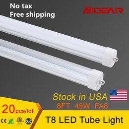 Wholesale Free Tax - FA8 T8 8ft led tube single pin led tube light no tax free shipping 45W 2400mm Led Fluorescent Lamp