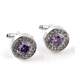 Wholesale Suit Business Wholesale - Luxury Austria Crystal Round Cuff Links Jewelry Purple White Crystal Wedding Cufflinks For Men Women Business Suit Gift