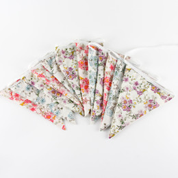 Wholesale Wholesale Country Floral - Wholesale- New Bigger Size 12 Flags floral print Fabric Banners Wedding Bunting Party Birthday Country Garden Garland Home Decoration