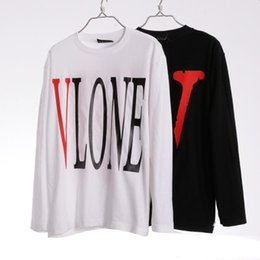 Wholesale cool white shirts - 2017 Fashion VLONE T-shirt For Men White Black Long Sleeve O-Neck Casual Tee Cool Streetwear Autumn Winter Jogging Tops