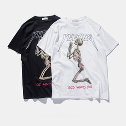 Wholesale Wholesale Animal Skulls - Wholesale- Yeezus Tour Kanye West t shirt Merch Indian Headdress Skull Red Letter short sleeve t shirt tee HBA hip top T-shirt TOPS 4XL