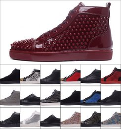 Wholesale High Quality Luxury Brand Men High Black Wire Mesh With Spikes Casual Shoes Women Red Bottom Sneakers Send Original ShoeBox