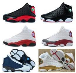 Wholesale Womens Discount Basketball Shoes - High Quality Mens womens Basketball Shoes Air Retro 13 Bred Black True Red Discount Sports Shoe Athletic Running shoes Best price Sneakers