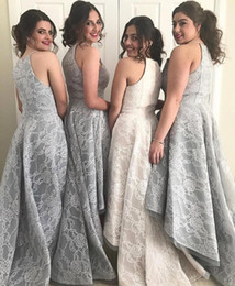 Wholesale Ellie Saab Prom - Ellie Saab Custom Made Bridesmaid Dresses Spaghetti Sleeveless Cheap Prom Gown High Low Sweep Train Sheath Silver Lace Party Gowns