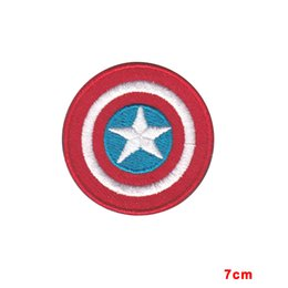 Wholesale Captain Iron Patch - NEW ARRIVE CAPTAIN AMERICA LOGO COMICS Iron On Patch TV Movie Cartoons