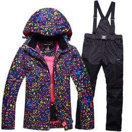 Wholesale Hot Pink Suit Women - Wholesale- Hot sale snow jackets women ski suit set jackets and pants underwear outdoor single skiing set windproof therma ski snowboardl
