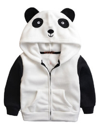 Wholesale Child Panda Jacket - Wholesale- Autumn and Winter Europe Lovely Polar Fleece Embroidery Coat Cartoon Panda Children Jacket Zipper Hooded Boys Girls Outwear