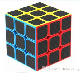 Wholesale Carbon Fiber Cube - zcube Professional Twist Magic Cube Carbon Fiber Film Glow in the Dark Cylindrical Third Order Puzzle Magico Cubo Speed Rubik Cube To