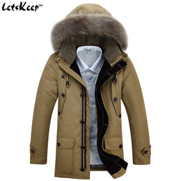 Wholesale winter jacket fur hood mens - Wholesale- LetsKeep Mens 2016 New Winter Down Jacket Parka Khaki Fur Hood Mens White Duck Down Coat Army faux fur hooded jackets men, ZA197