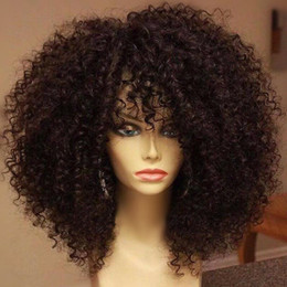 Wholesale Light Brown Wigs Sale - Brazilian Kinky Curly Wigs For Sale Glueless Afro Curly Lace Front Wigs Virgin Hair Brazilian Full Lace Wigs Black Women With Baby Hair