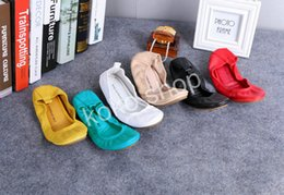 Wholesale Shoes For Pregnant - Free shipping !Fashion Brand Women Shoes Leather Ballerina Foldable Ballet Flats Portable Travel Flat Pregnant Shoes For Bridal Wedding