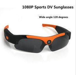 mini grabadora de video recargable Rebajas Gafas de sol Outdoor Mini Camera Gran angular 120 grados Negro / Naranja Mini DV Camcorder DVR Video Camera Gafas inteligentes HD 1080P