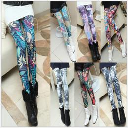Moda feminina Impressão Multiclor Lápis Calças Sexy Leggings Finas calças de Yoga para a Ioga de Execução Do Casamento Do Partido de Fornecedores de camisola coreana da mulher do pescoço redondo