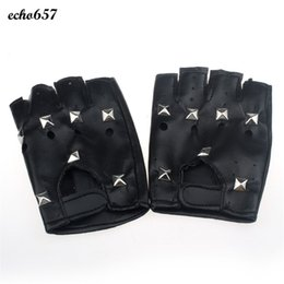 Wholesale Hottest Fashion Wholesale - Wholesale- New Arrival Echo657 Hot Fashion Theatrical Punk Hip-hop PU Black Half-finger Leather Gloves Square Nail Nov 10