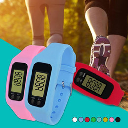 Wholesale Digital Calorie Counter Pedometer - Digital LED Pedometer Run Step Walking Distance Calorie Counter Watch Fashion Design Bracelet Colorful Silicone Pedometer